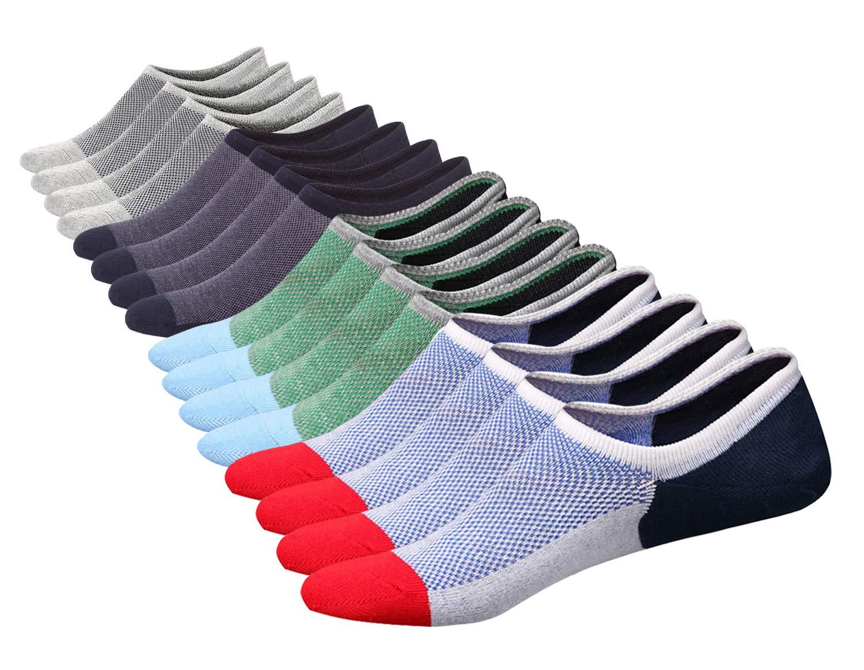 SIXDAYSOX Men's 8 Pairs No Show Odor-Resistant Non Slip Socks Shoe Size 6-11 (Mix Color 2)
