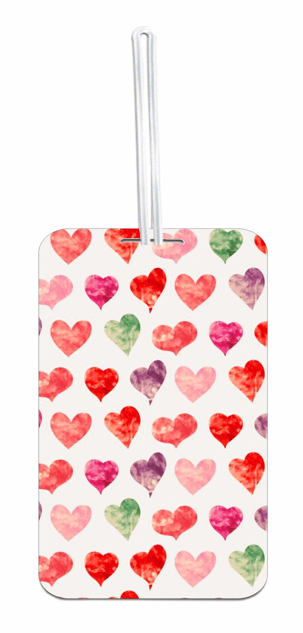 Watercolor Hearts Hard Plastic Luggage Tag with Personalized Back