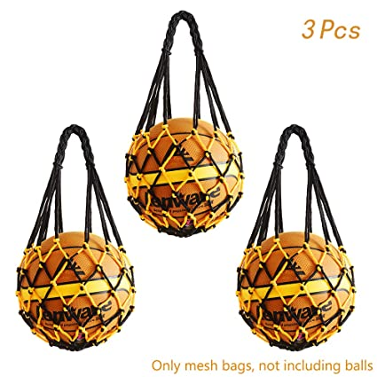 2b8d0d952 Hatisan 3Pcs Durable Mesh Storage Sports Ball Holder, Multifunctional Single  Ball Carrier Net Bag for