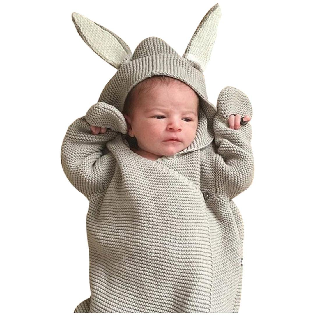 Newborn Receiving Blanket Baby Bunny Ear Knitted Swaddle Blanket Sleeping Wrap (Gray)
