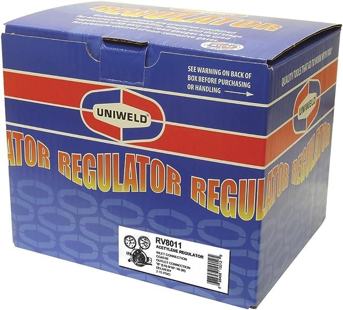 Uniweld RV8011 Heavy Duty Single Stage Acetylene Regulator with CGA510 Inlet
