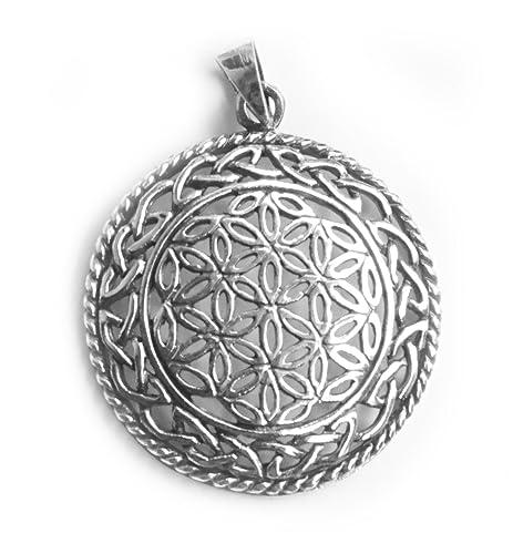 Colgante/Amuleto Flor de la Vida, Plata de ley 925, Celta ...