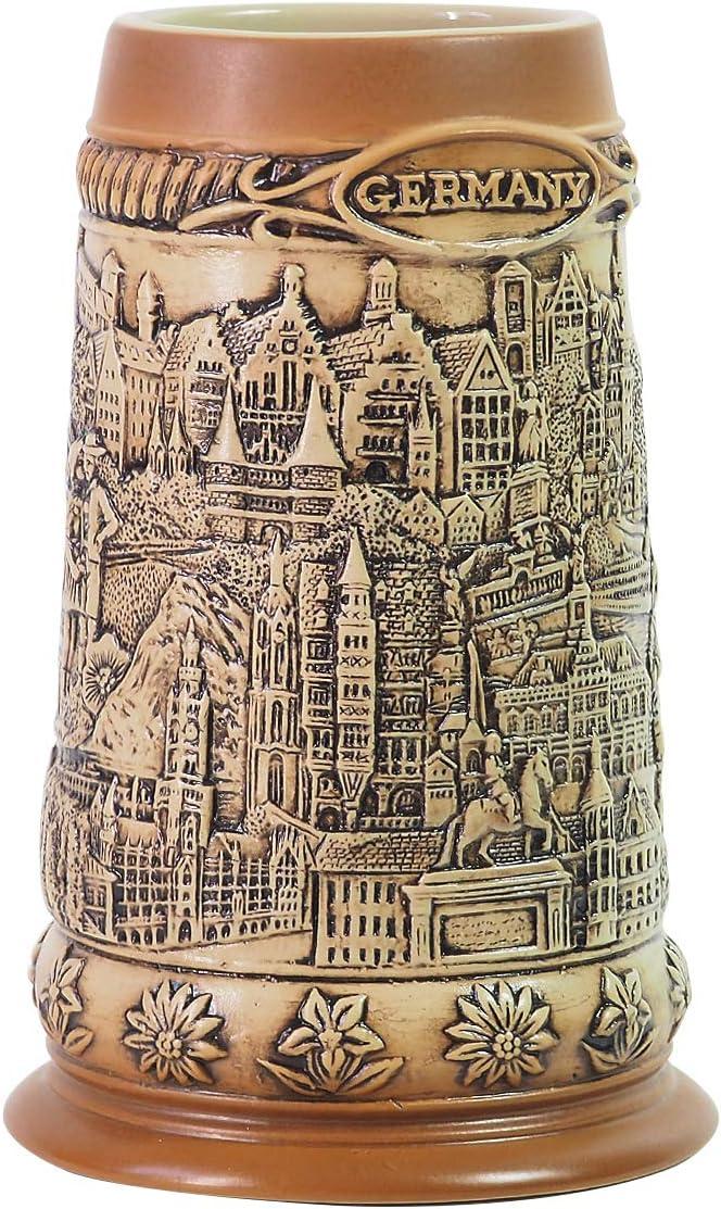 Amoy-Art Jarra de Cerveza Alemana Hecho a Mano Regalo Souvenir Relieve de Paisaje de la Ciudad Antigua Grabado Estándar de Seguridad Alimentaria Caja de Regalo 1 Litre