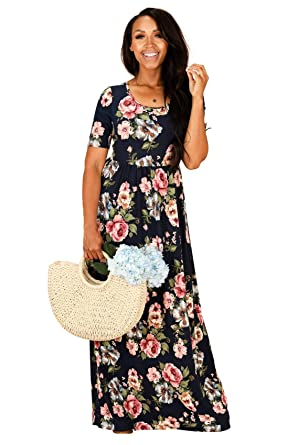dbda14a7b6bf Miranda Modest Maxi Dress in Navy Blue w/Pink & Blue Floral Print - XS