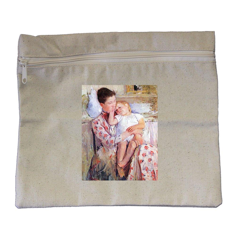 Mother And Child (Cassatt) Canvas Zippered Pouch Makeup Bag
