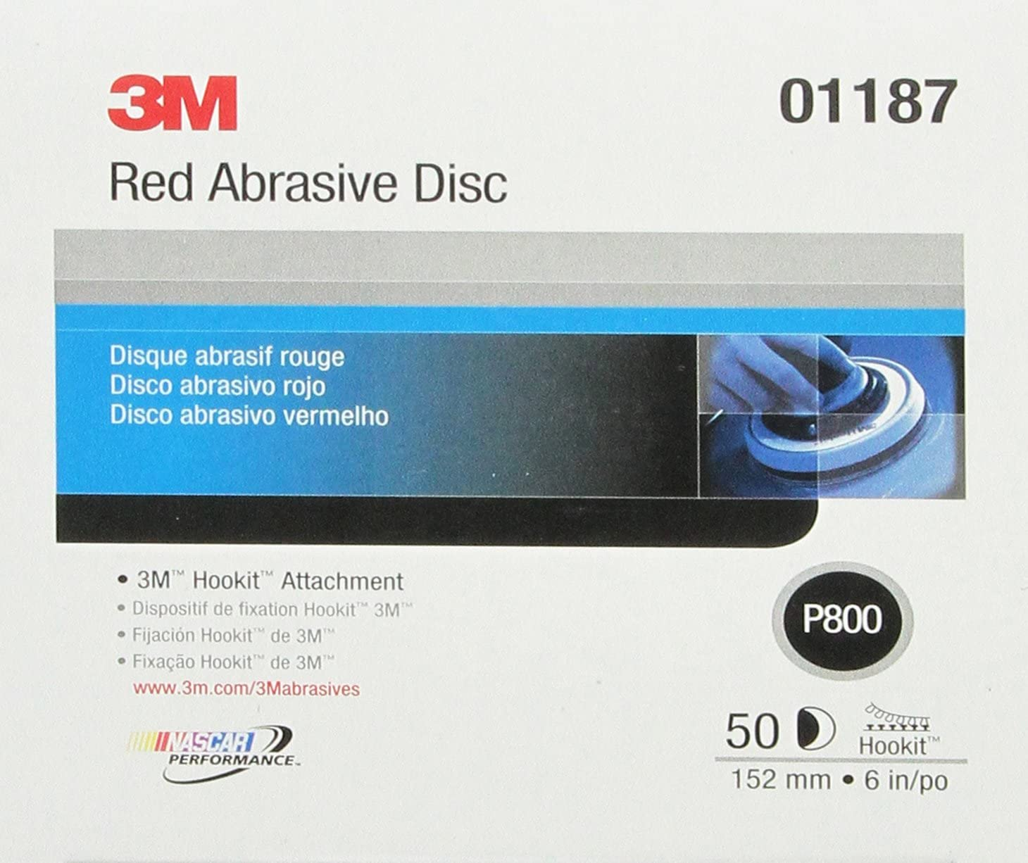 3M Hookit Red Abrasive Disc 316U, 01187, 6 in, P800, 50 discs per carton