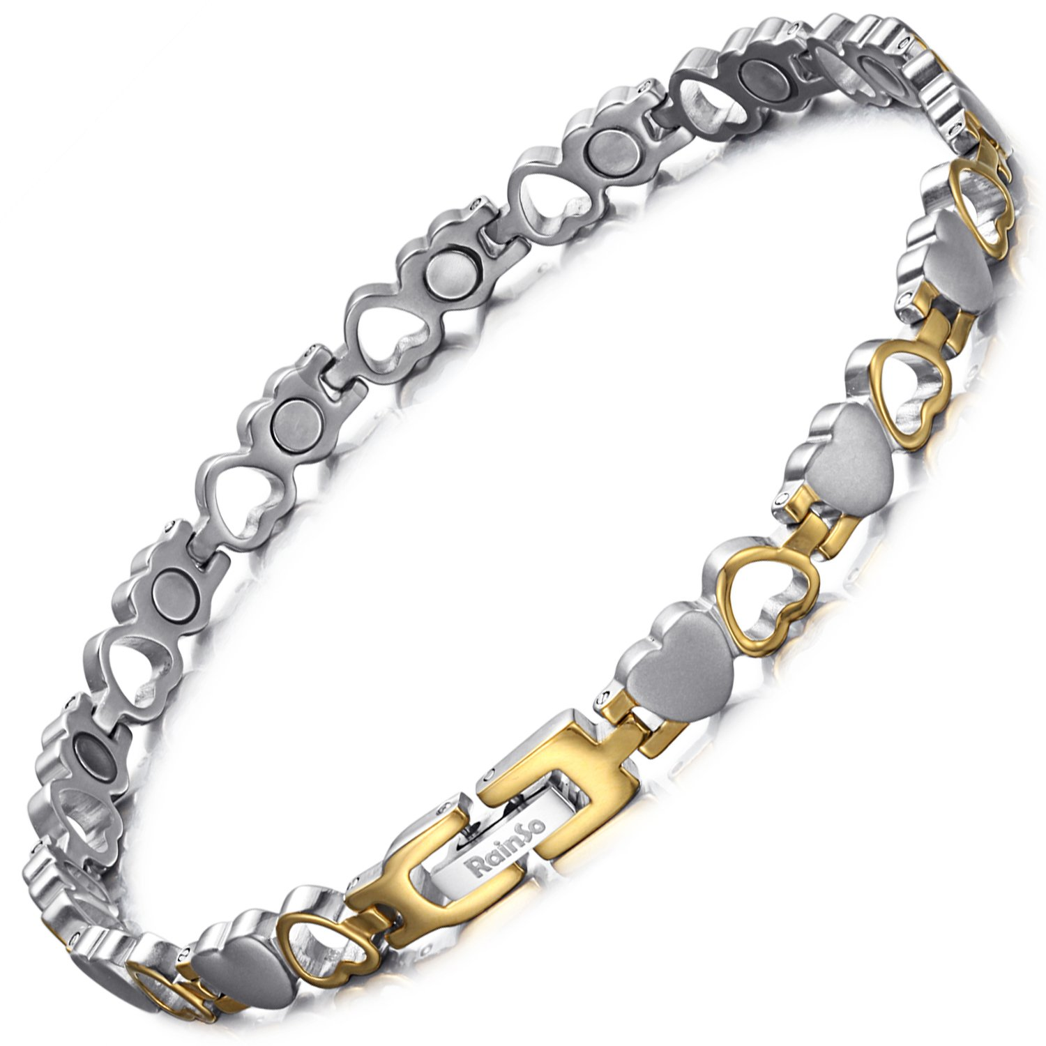 RainSo Womens Titanium Heart Design Magnetic Health Therapy Anklets Pain Relief Adjustable OTA-128SG-UK