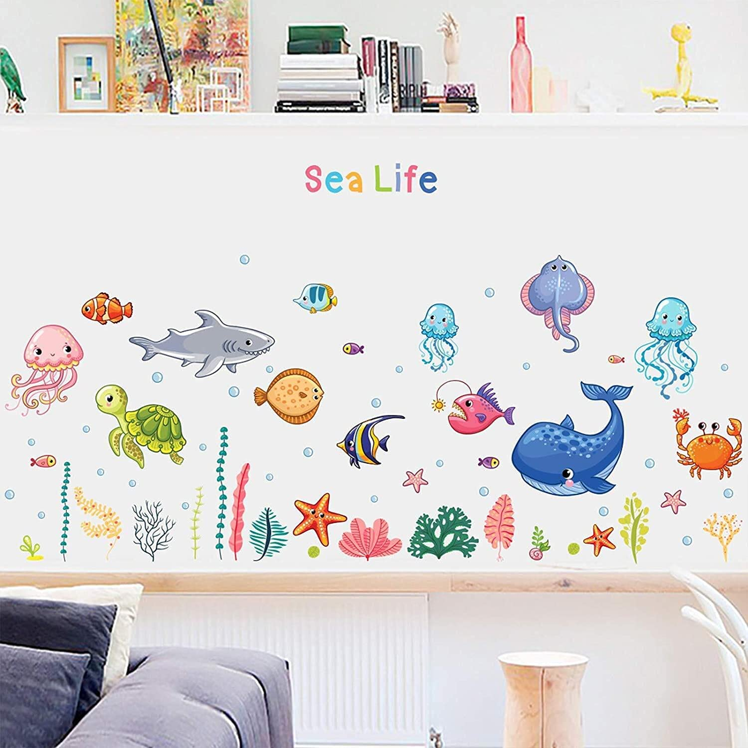 Cartoon Sea Life Wall Decals, HOLENGS Ocean World Peel and Stick Removable Wall Stickers, DIY Under The Sea Fish Wall Decor for Kids Girls Baby Bedroom Classroom Nursery Home Decoration