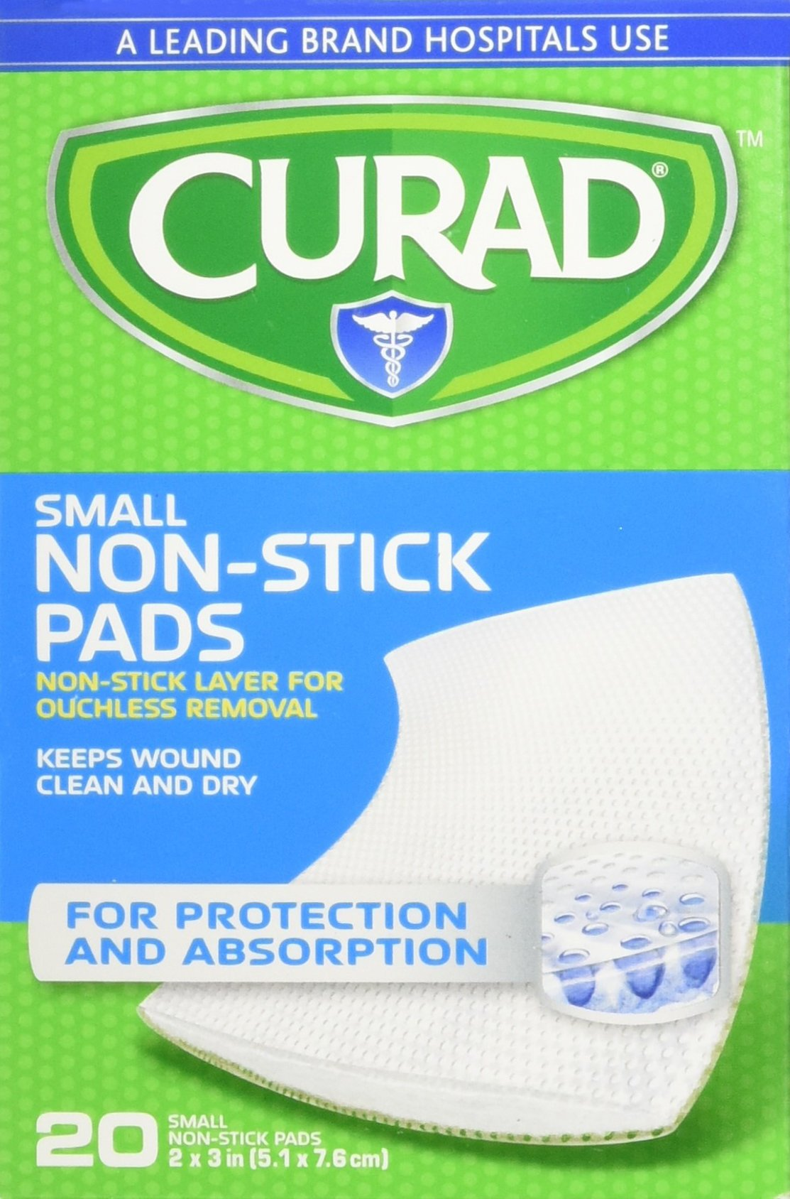 Curad Non-Stick Pads, 2 x 3-Inch, 20 Count - CUR47396RB