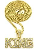 "Crown Gold-Tone KING Pendant 24"" Box or Cuban Chain Necklaces"