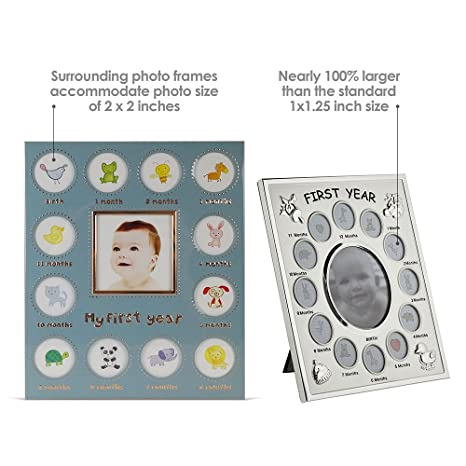 amazoncom babys my first year picture frame available in 3 colors silverbluepink larger collage picture openings blue baby