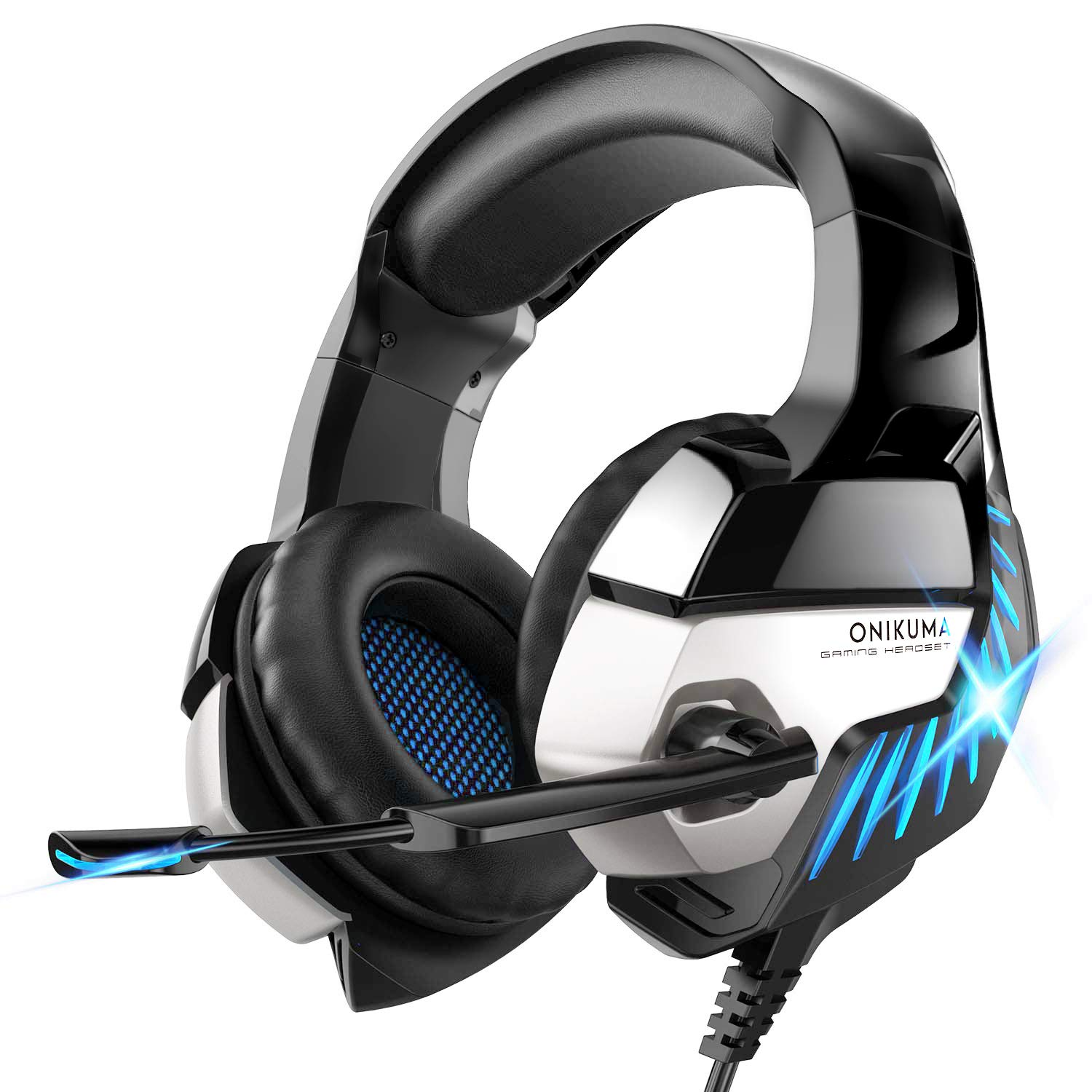 Gaming Headset for PS4, Xbox One, PC Headphones with Microphone LED Light Mic for Nintendo Switch Playstation Computer, K5 pro (Black&Blue) by Nivava