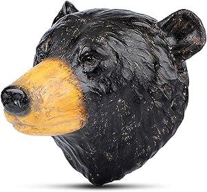 Polyresin Faux Black Bear Head Wall Hanging, Handmade Wall Charmers for Farm House, Animal Head Home & Garden décor