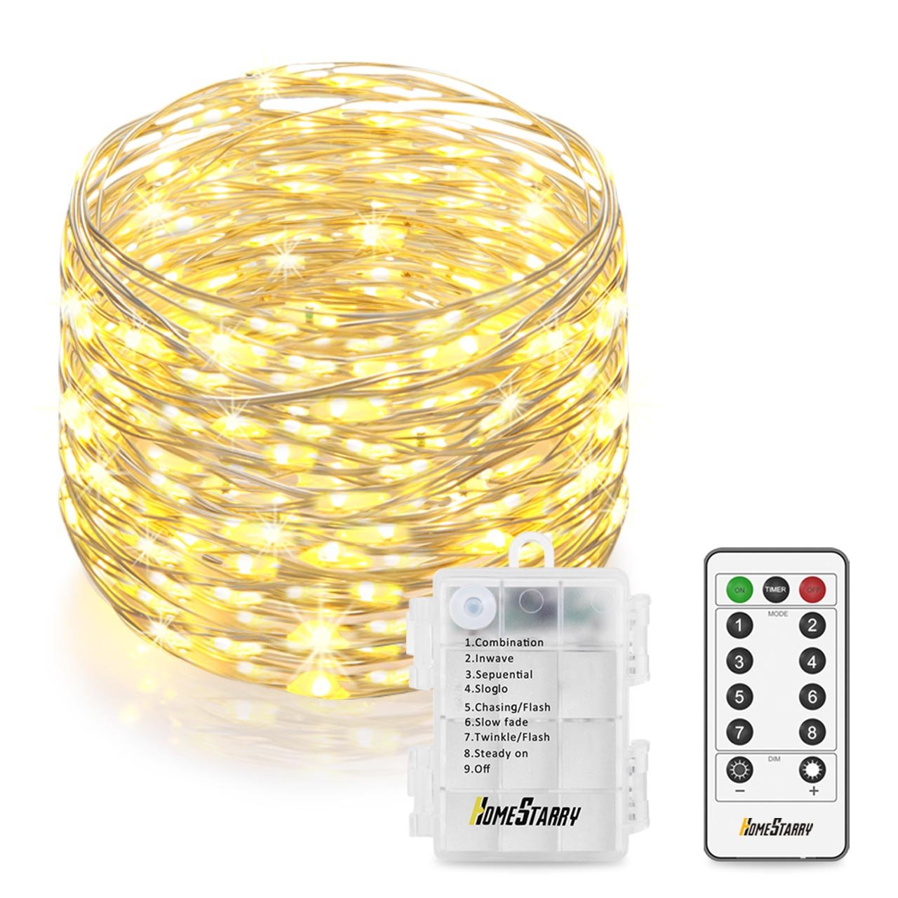 Homestarry LED String Lights, Battery Powered String Lights With Remote, 33feet/132leds Indoor Decorative Silver Wire Lights for Bedroom, Patio, Outdoor Garden, Party, Wedding, Christmas Tree. HS-B-SL-011