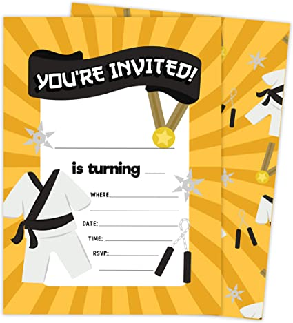 Amazon Com Karate Design Tarjetas De Invitación De