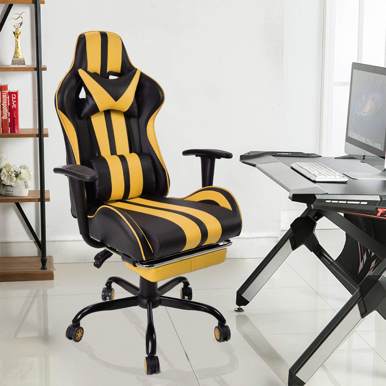 Video Gaming Chair,E-Sports Chair,Office Chair,PC Computer Chair Racing Yellow Racing Style Racing Chair with Hight Adjustment,Massage Lumbar Support,Headrest,Retractable Footrest