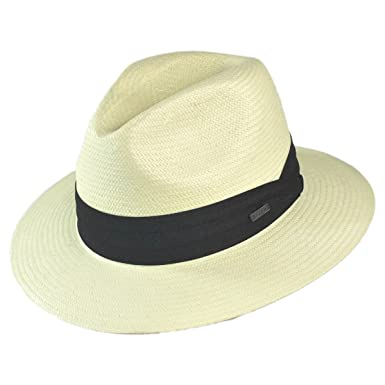 b9800fc7d7abd Amazon.com  Jaxon Hats Toyo Straw Safari Fedora Hat - Black Band  Clothing