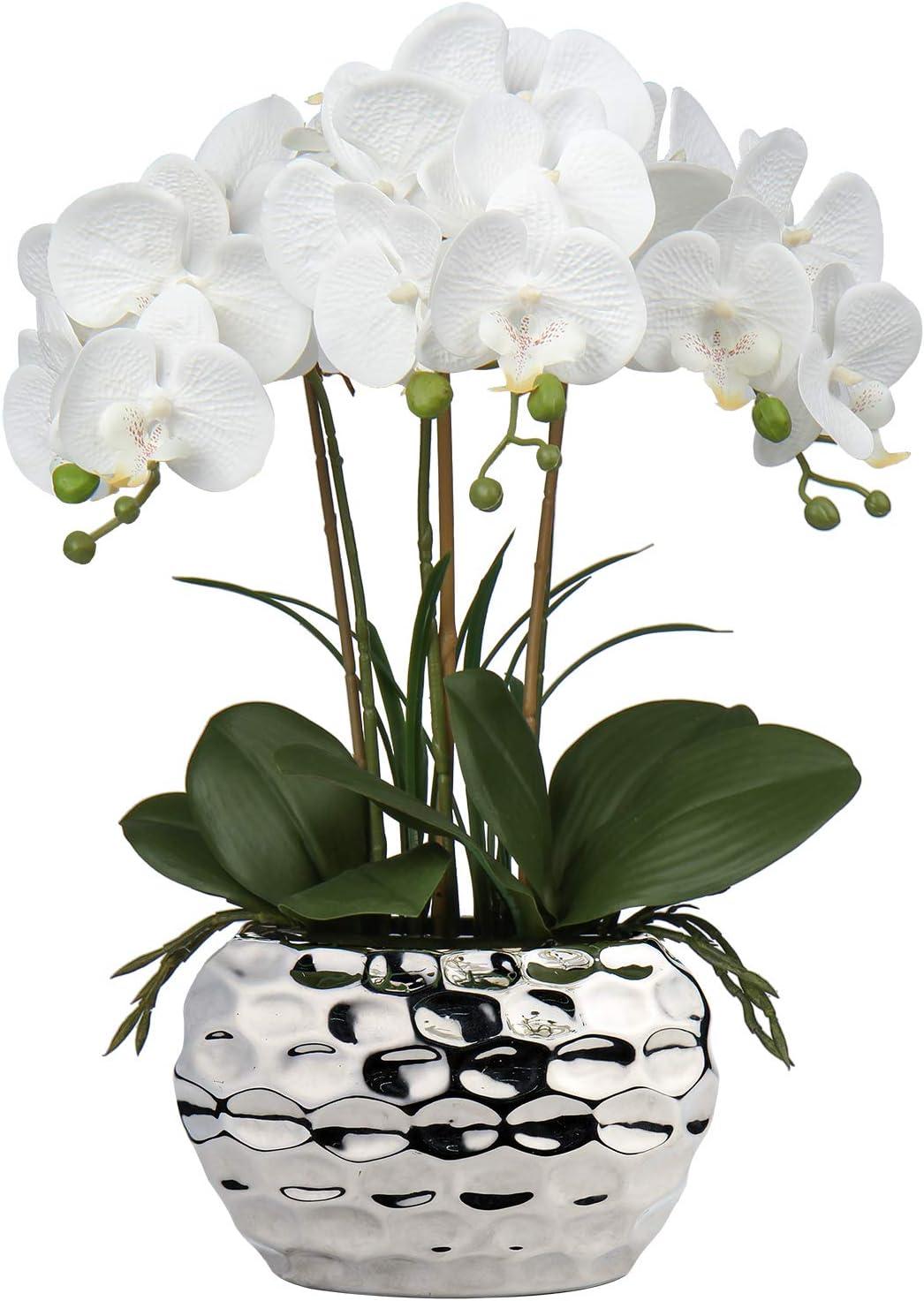Artificial Orchid, Faux Phalaenopsis Orchid Silk Flower Arrangement Tall Fake Orchid Flowers Plant Ceramics Pot Arrangements for Home Table Office Party Table Decor