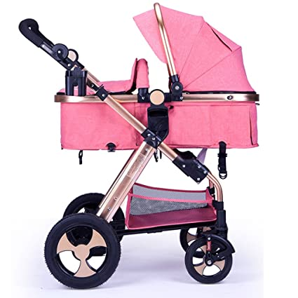 Baby Stroller Baby Cart High Landscape Can Sit Can Lay Four Rubber Wheels Newborns Shock Absorption