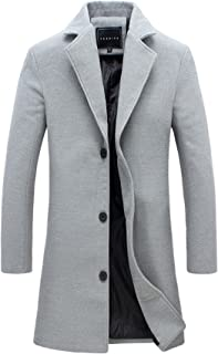fashion 1938 Mens Long Wool Coat Slim Fit Notched Collar Outwear Overcoat