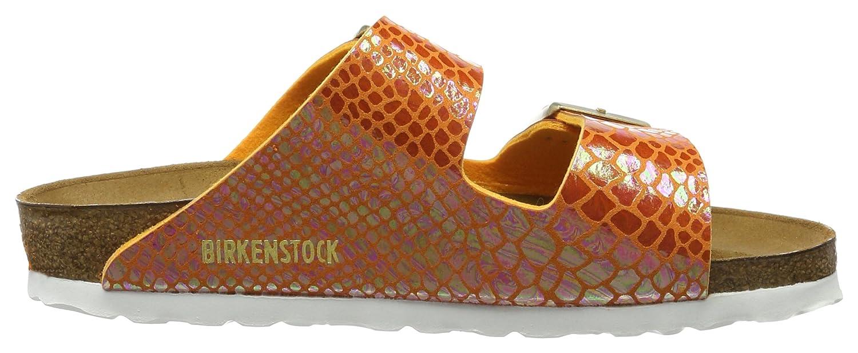 BIRKENSTOCK Classic Damen Arizona Birko-Flor Pantoletten, Orange (Shiny Snake Orange), 42 EU