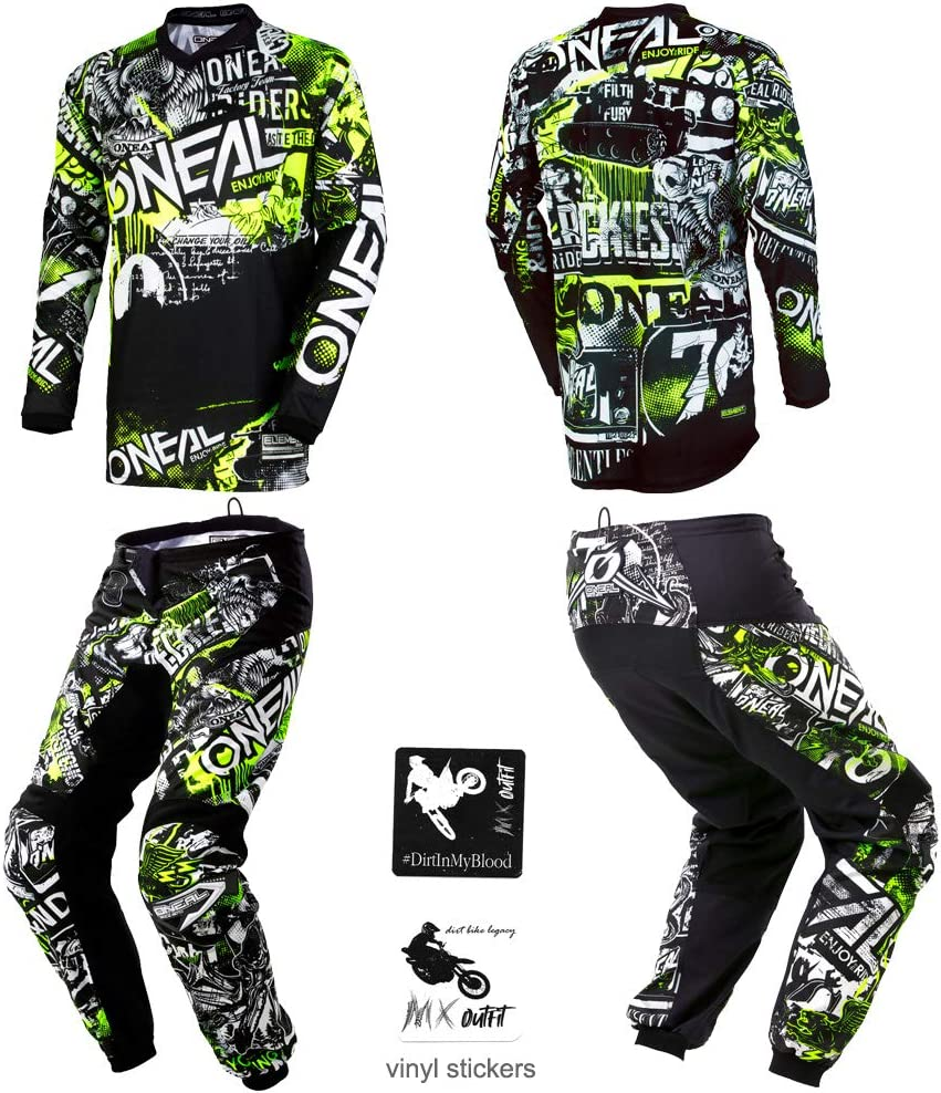 ONeal Element Attack Black//Hi-Viz Green Neon Adult motocross MX off-road dirt bike Jersey Pants combo riding gear set Pants W34 // Jersey Large