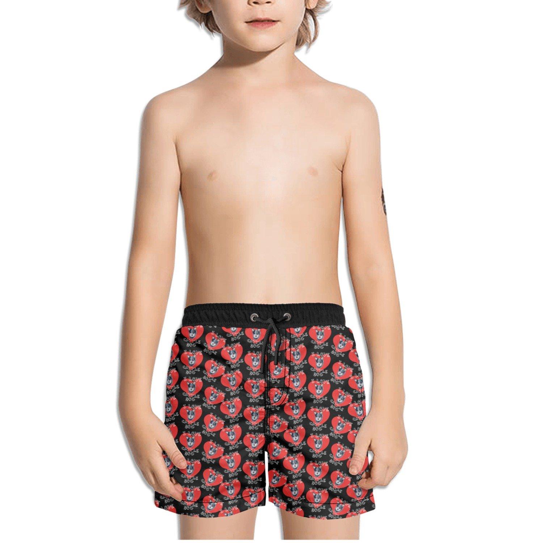 Trum Namii Boys Quick Dry Swim Trunks I Love Cattle Dog Heart Red Shorts