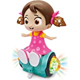 Zest 4 Toyz 360 Degree Rotating Musical Dancing Girl Toy with Flashing Lights & Bump and Go Action, Activity Play Center Toy for Kid Early Learning Educational Toys for Toddlers- Assorted Color
