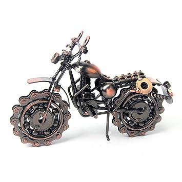 Kaifang - Moto de hierro hecho a mano con rueda de cadena como escultura de arte coleccionable para los amantes de la motocicleta, metal en tono bronce ...