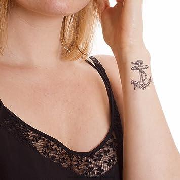 Tatuaje ancla con cuerda - Set de tatuajes, carnaval, negro / azul, 5: Amazon.es: Hogar