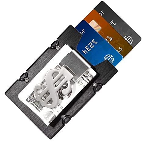 Hombre Tarjeteros - Negro Aluminio Delgado Billetera ManChDa Cartera de bolsillo delantera & Clip de dinero