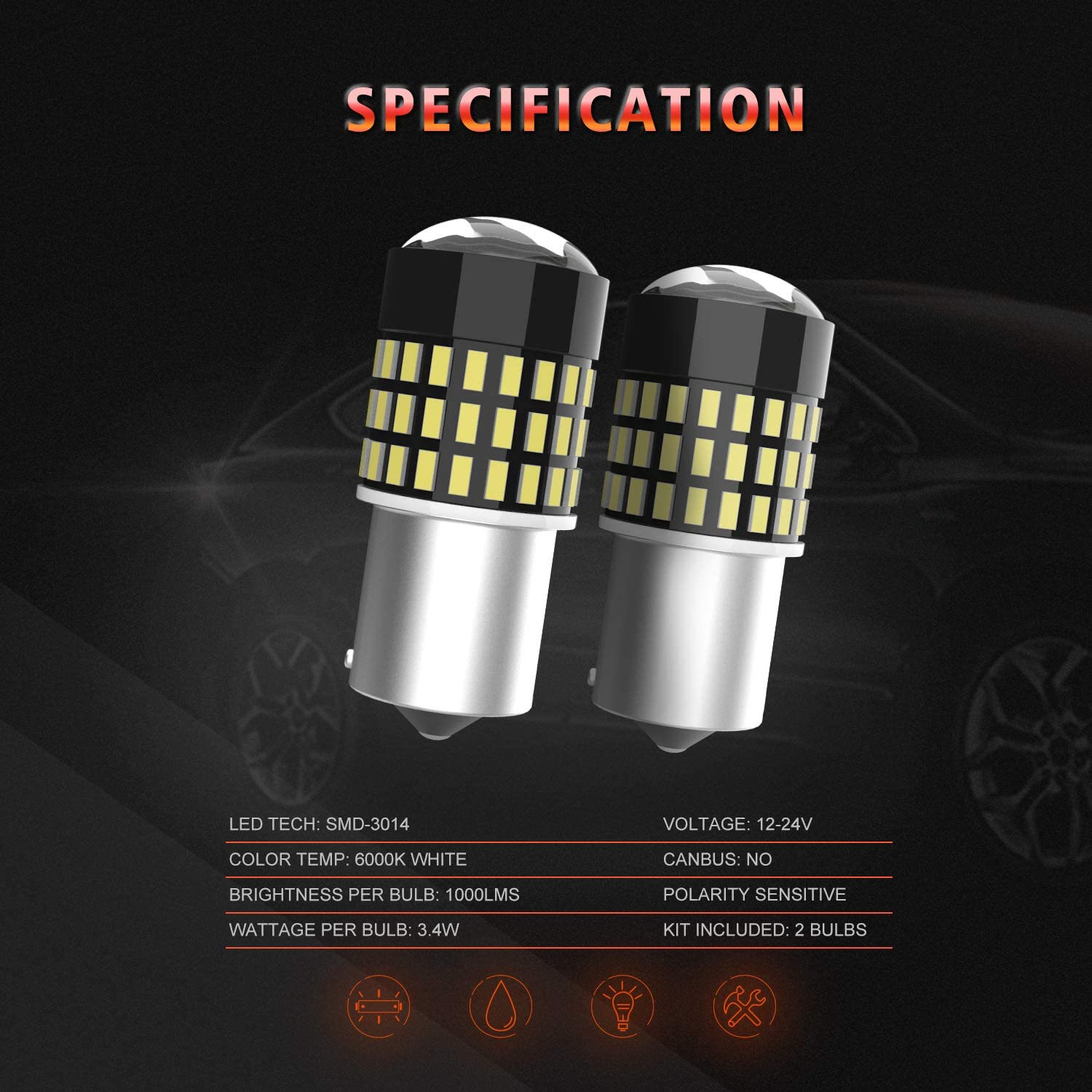 2 Pack VehiCode 1157 LED Bulb Red Light Bright Kit 2357 2057 7528 1157A 1034 P21//5W BAY15D Dual Function Replacement with Projector for Car Motorcycle Rear Turn Signal Tail Brake Stop Light Lamp
