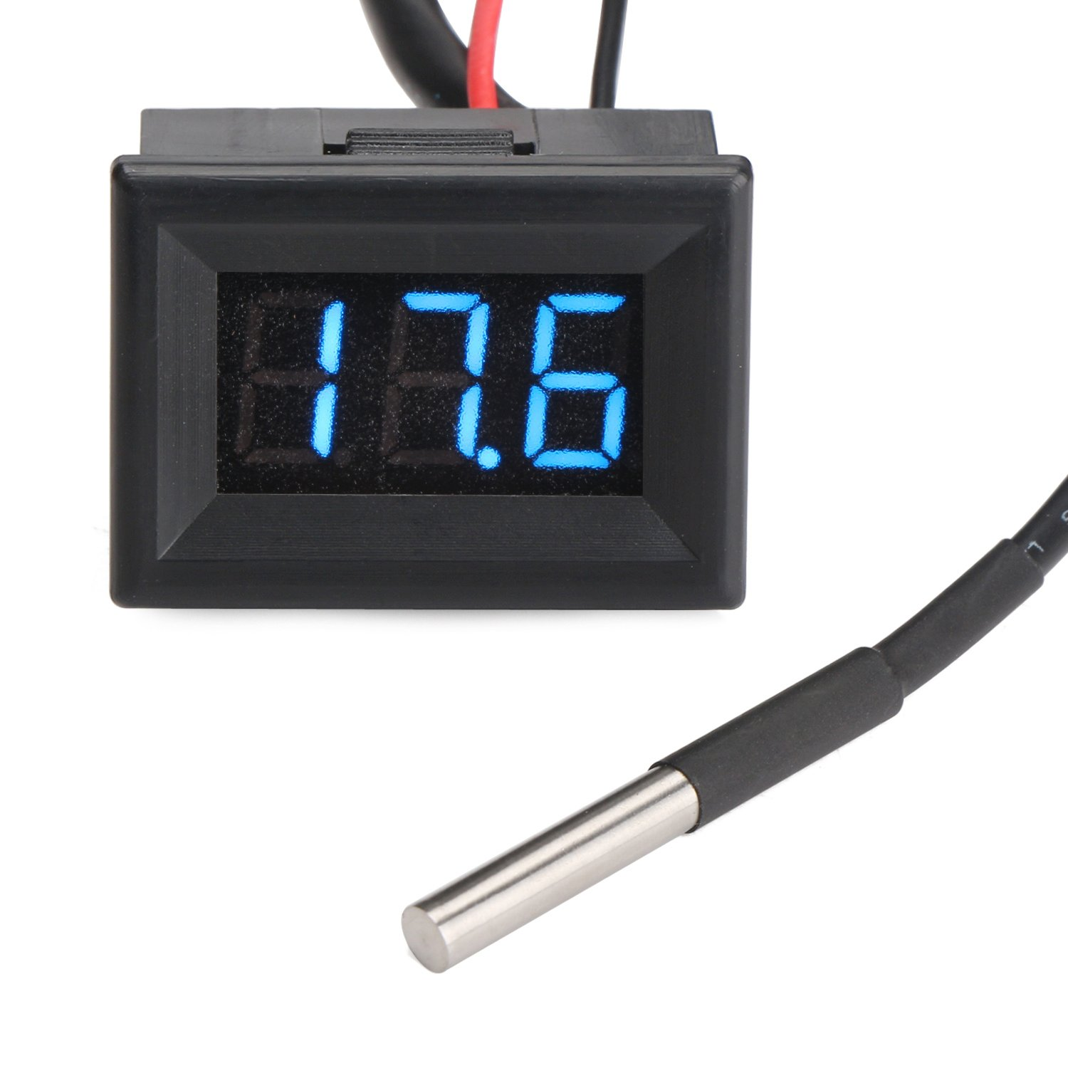 DROK 100096 Micro LED Digital -55 to 125℃ Temperature Meter Gauge Panel DC 7-30V 12V/24V Temp Tester Monitor with Bright Blue Digital Display and DS18B20 Waterproof Sensor Probe