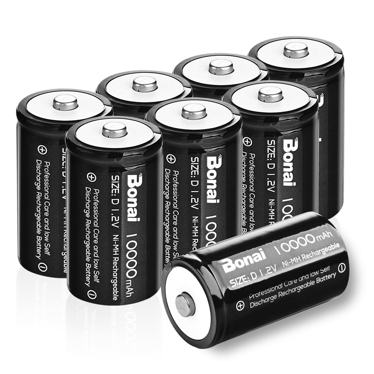 BONAI 8 Pack 10,000mAh D Rechargeable Batteries 1.2V Ni-MH High Capacity High Rate D Size Battery