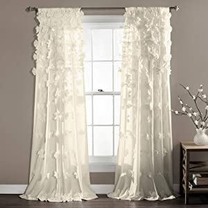 """Lush Decor Riley Curtain Sheer Ruffled Textured Bow Window Panel for Living, Dining Room, Bedroom (Single), 84"""" x 54"""", Ivory"""