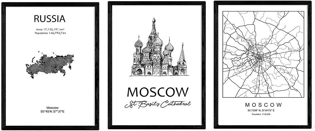 Pack de Posters de Paises y monumentos. Mapa Ciudad de Moscu ...