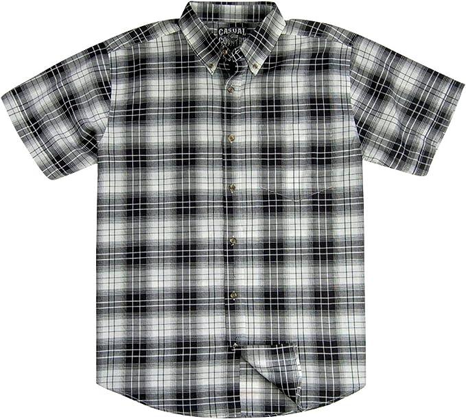 Men/'s Plaid Checkered Button Down Casual Short Sleeve Regular Fit Dress Shirt US