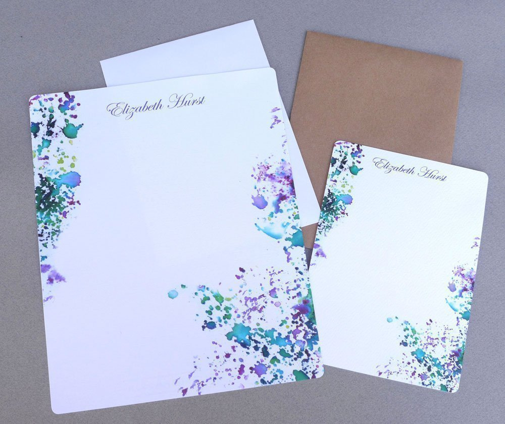 Women's Complete Personalized Stationery Set, Contemporary Abstract Girl's Personalized Stationary Set With Envelopes, Modern Watercolor Letter Writing Stationery Paper, Personalized Flat Note Cards
