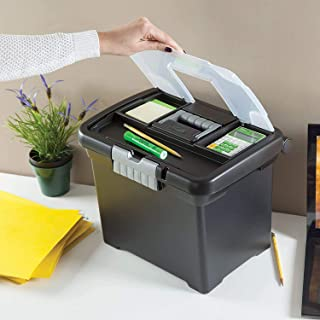 product image for Sterilite 18719004 Portable File Box, Black with Clear Storage Lid and Titanium Handle and Latch, 4-Pack