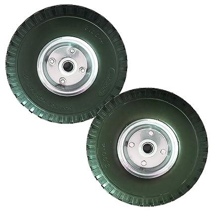 2 pieza PU Rueda para carretilla, 260 mm/3.00 – 4 con rodamientos goma