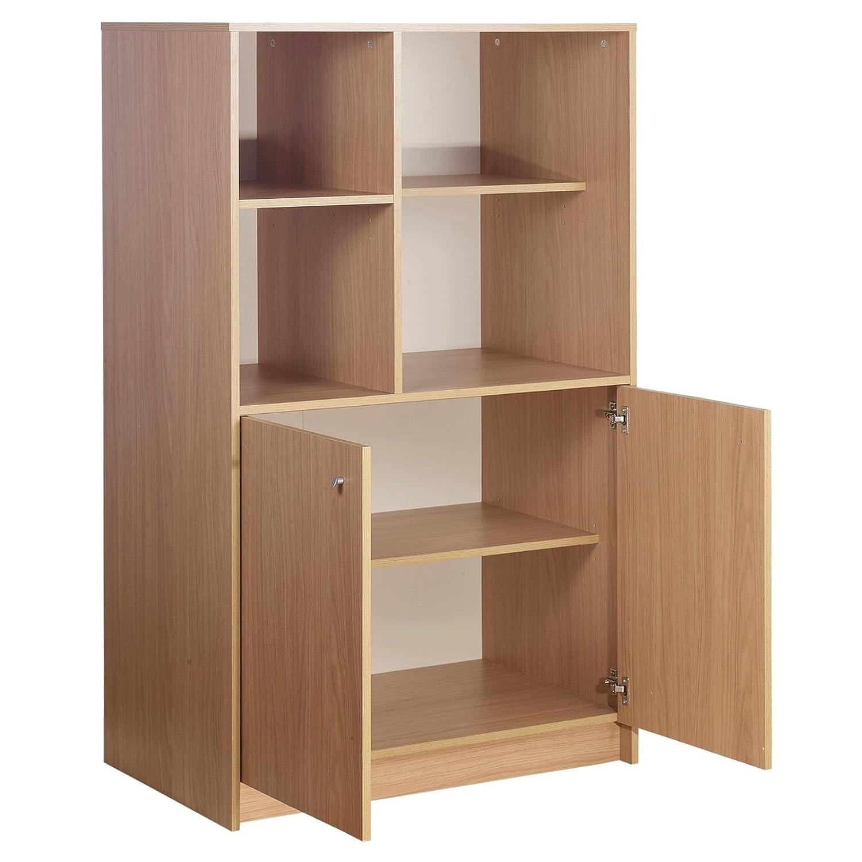 URBNLIVING Oak Calgary Hideaway Wooden 2 Door 4 Cube Cabinet EGT