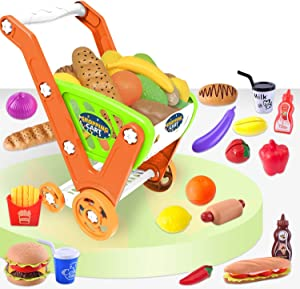 HONYAT Take Apart Shopping Cart Toy with 33pcs Grocery Food Playset, Pretend Play Supermarket Handcart Gift Set Kid Toys for Toddlers Ages 3 4 5 6 Years