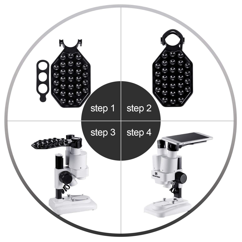 Microscopio Stereo 40x per Bambini e Studenti Vetrini Preparati Microscopio Binoculare per Scuola e Laboratorio con Oculare WF20X e Obiettivo 2X Adattatore Telefonico LED