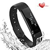 Heart Rate Fitness Tracker Watch, Lemebo Bluetooth 4.0 Slim Touch Screen Wristband Bracelet IP67 Waterproof with Sleep Monitor and Notifications Sport Pedometer Activity Tracker with Steps / Calorie / Distance Count, Sleep Monitor Compatible with iOS and android Phone