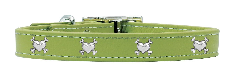 Rockin' doggie Heart Bones Rivet Leather Dog Collar, 3 4 by 18-Inch, Green