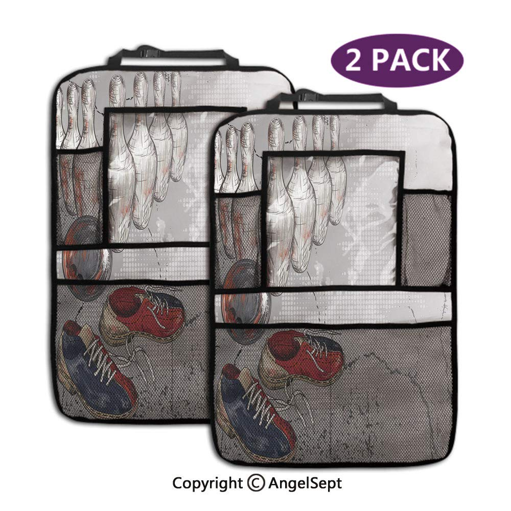 Storage Pockets Back seat Organizer,Bowling Shoes Pins and Ball Artistic Grunge Style Light Grey Red Dark Blue,19.3x27.2inch,Fit Travel Accessories for Kid & Toddlers(2 Pack) by RWNFA
