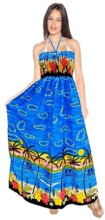 d23ae47faa LA LEELA Tube Top Skirt Women Swimwear Halter Cover up Long Swimsuit Evenig  Dress Blue