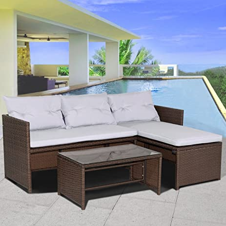 Amazon Tangkula 3 Piece Sofa and Chaise Lounge Set Outdoor