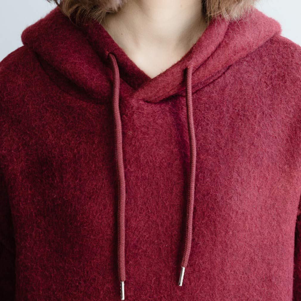 DGXIN Womens Maroon Knitted Hooded Loose One Size