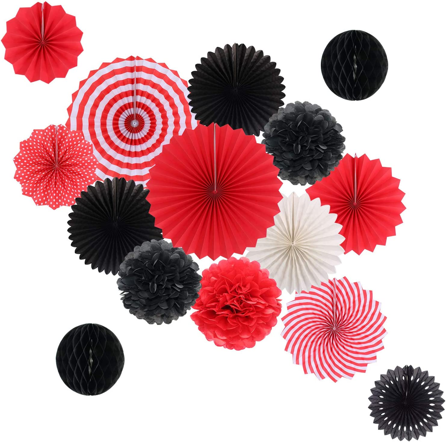 Hanging Party Decorations Set Tissue Paper Fans Paper Pom Poms Flowers and Honeycomb Ball for Wedding Birthday Bachelorette Graduation Party Decor Black Red Kit